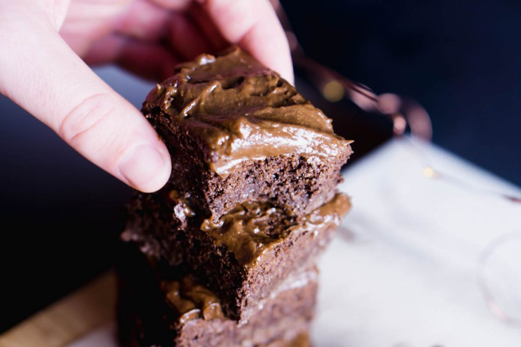 fudgy chocolate frosting cassava brownies