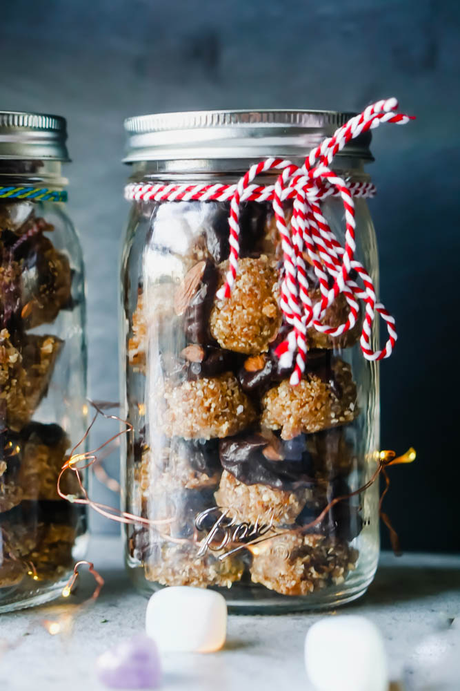 A jar of Almond joys. The perfect gift for the holidays!