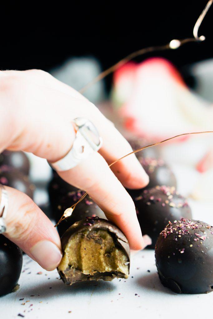 Rose Caramel Filled Chocolate Truffles-2