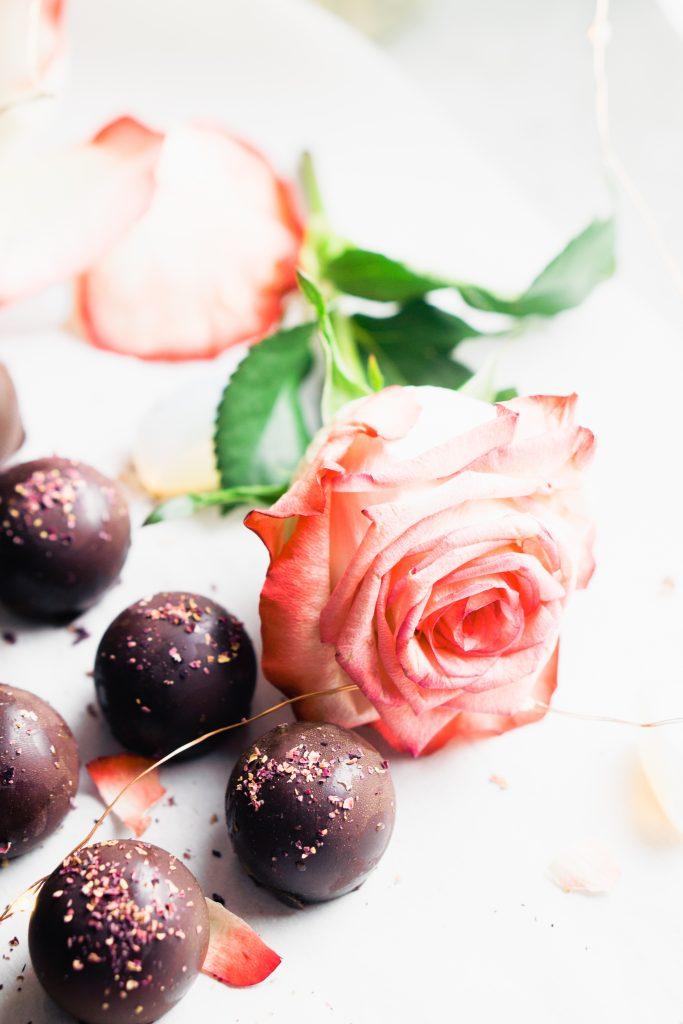 Rose Caramel Filled Chocolate Truffles