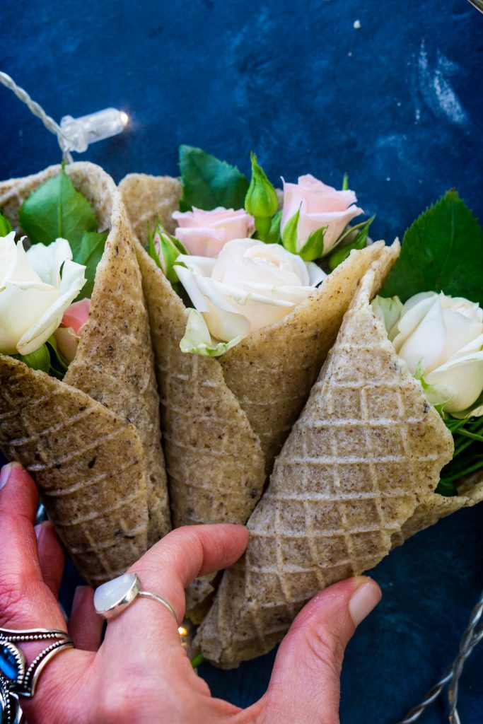 3 of the homemade vegan ice cream cones