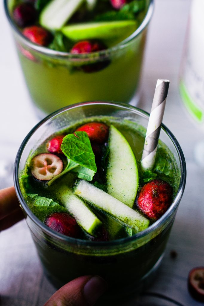 Green Apple, Cranberry & Mint Holiday Mocktail