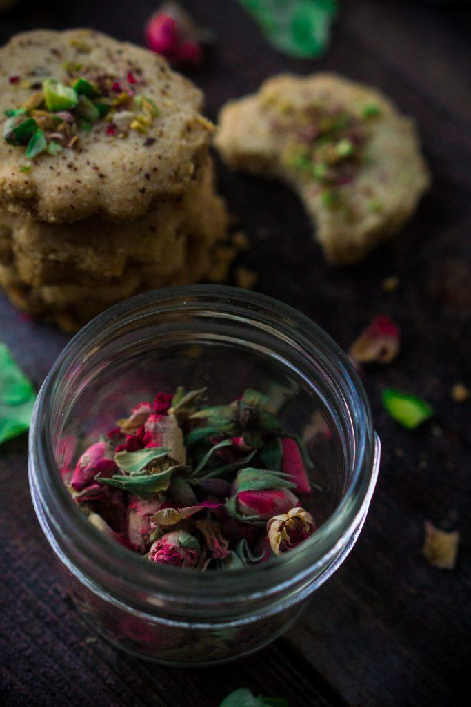 Pistachio Rose Shortbread cookies
