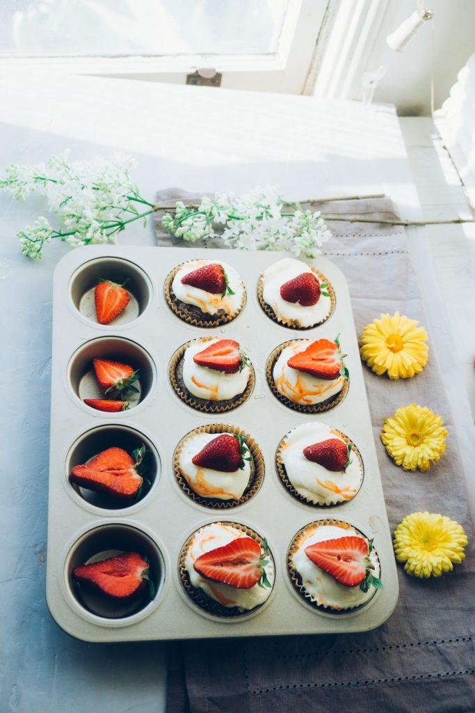 Strawberries & Cream Cupcakes with Lemon Zest Buttercream