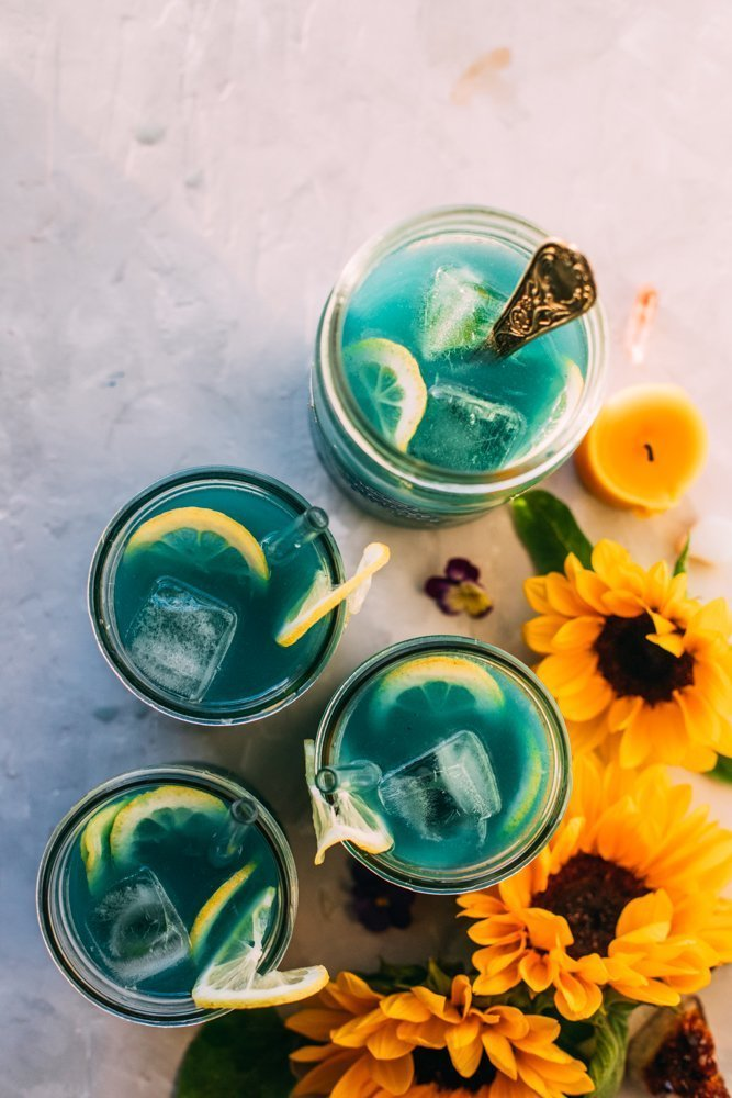 A few of the ginger lemonades infused with blue spirulina and CBD.