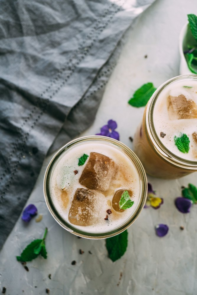 Two chocolate mint herbal coffees, iced for a cool refreshing drink.