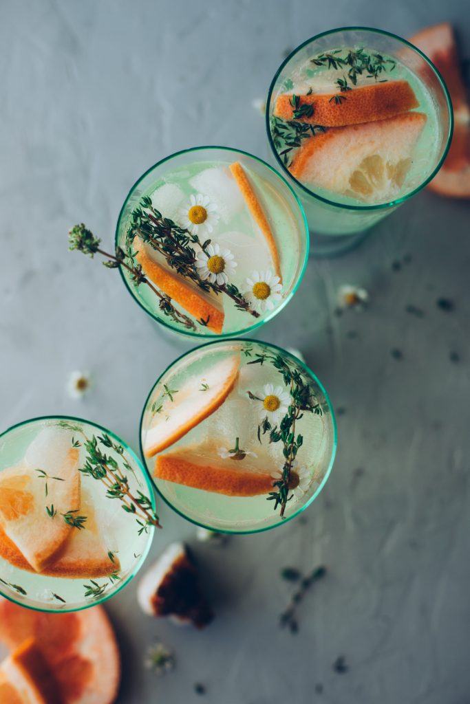 Overhead shot of 4 Grapefruit and Thyme Spritzers