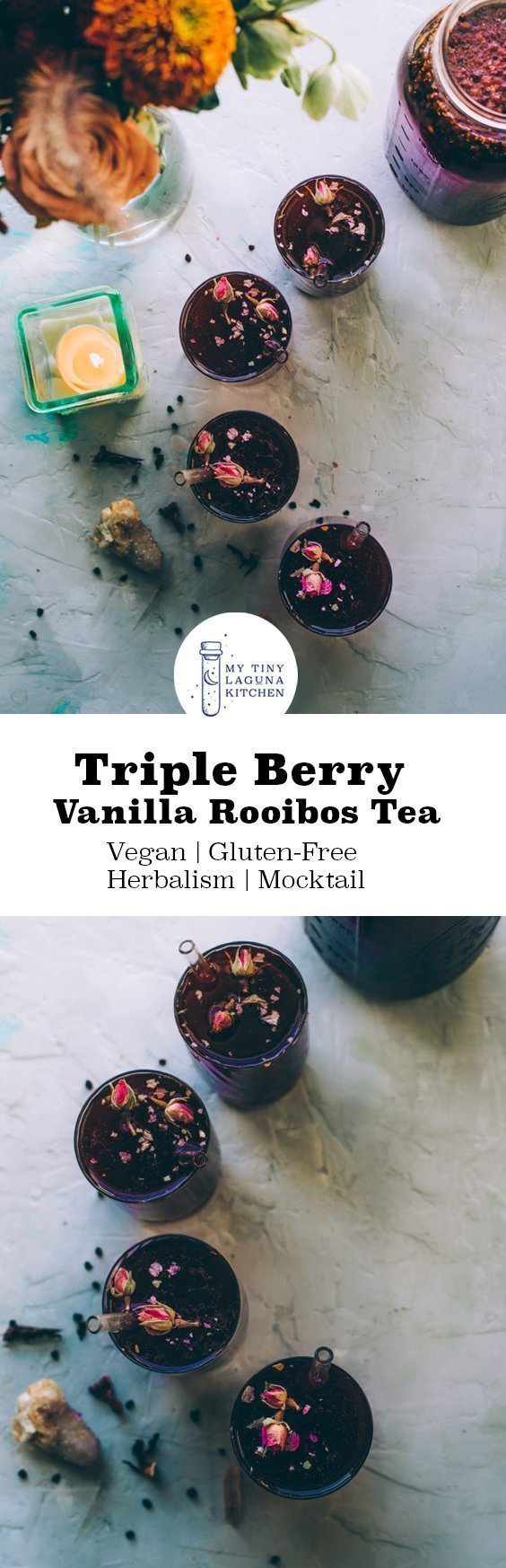 Triple Berry Vanilla Rooibos Filled with antioxidants and delicious taste, this triple berry vanilla rooibos tea is delicious at any time of year, iced or hot! #herbalism #elderberries #tearecipes #tea #immunesystem #herbalismrecipes