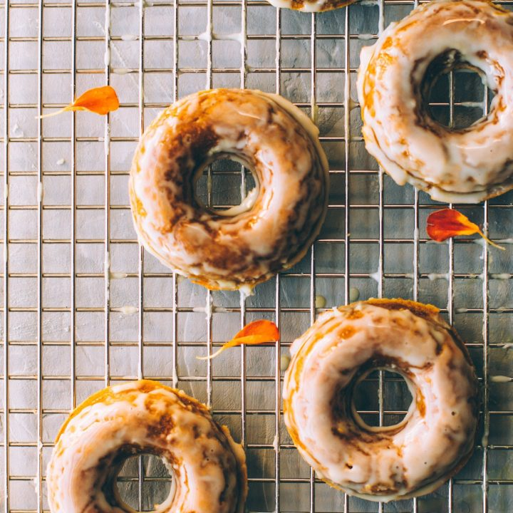 Pumpkin spiced donuts with CBD coconut glaze