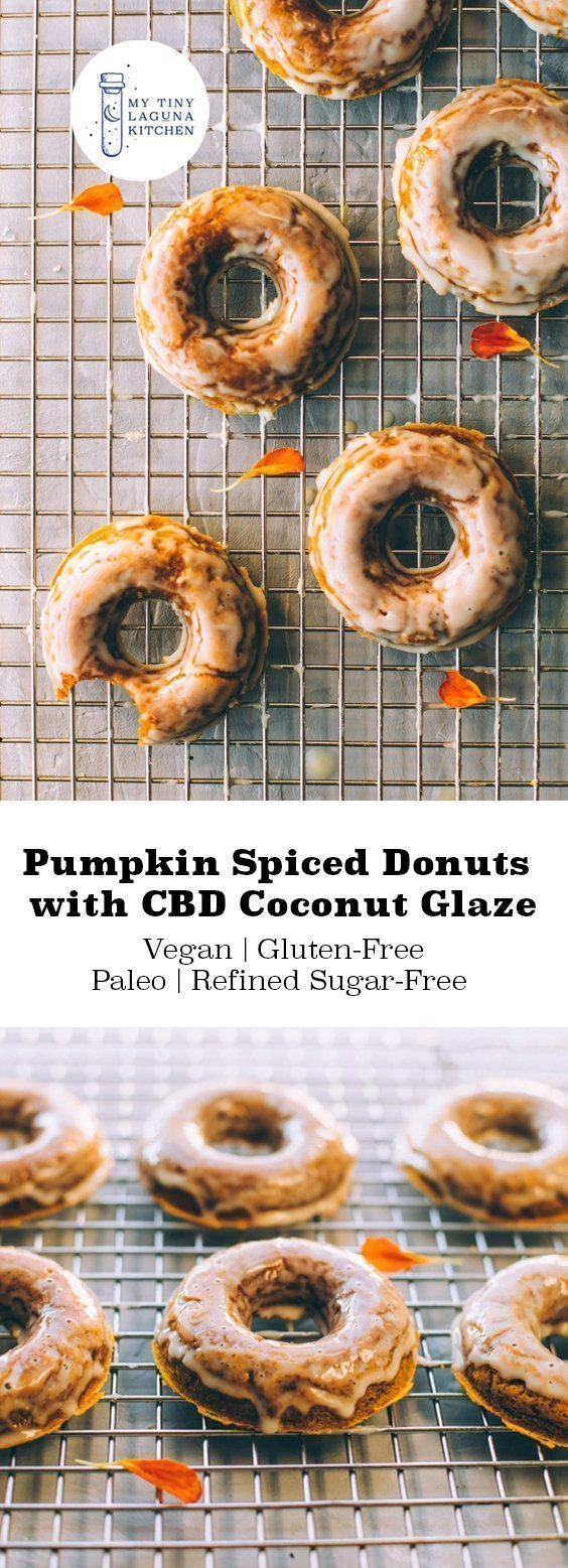 Pumpkin spiced donuts with CBD coconut glaze are soft, fluffy and the perfect mix between a donut and a pumpkin pie. #cbd #cbdrecipe #pumpkinrecipe #pumpkindonuts #glutenfreedonuts #ketodonuts