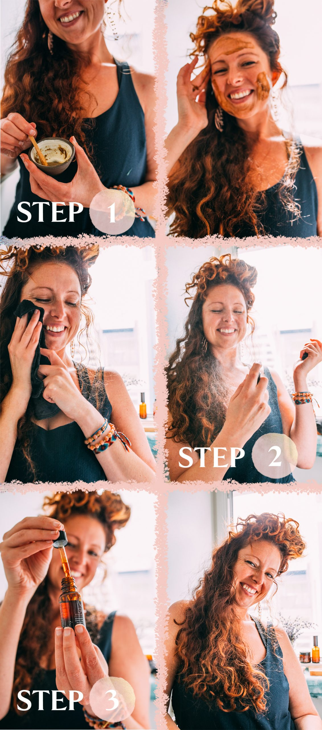 Visual step by step guide for my natural skincare routine!