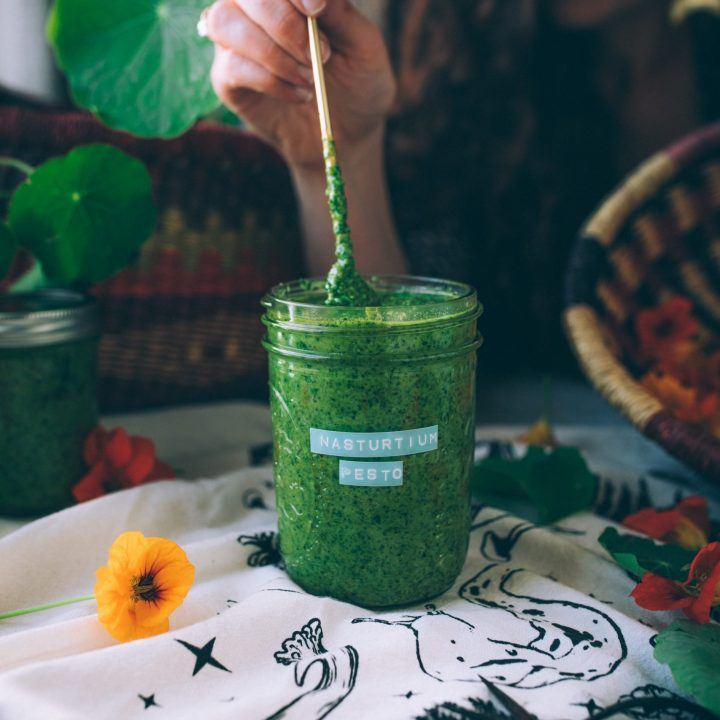 Showing the vibrant green color of the nasturtium pesto.