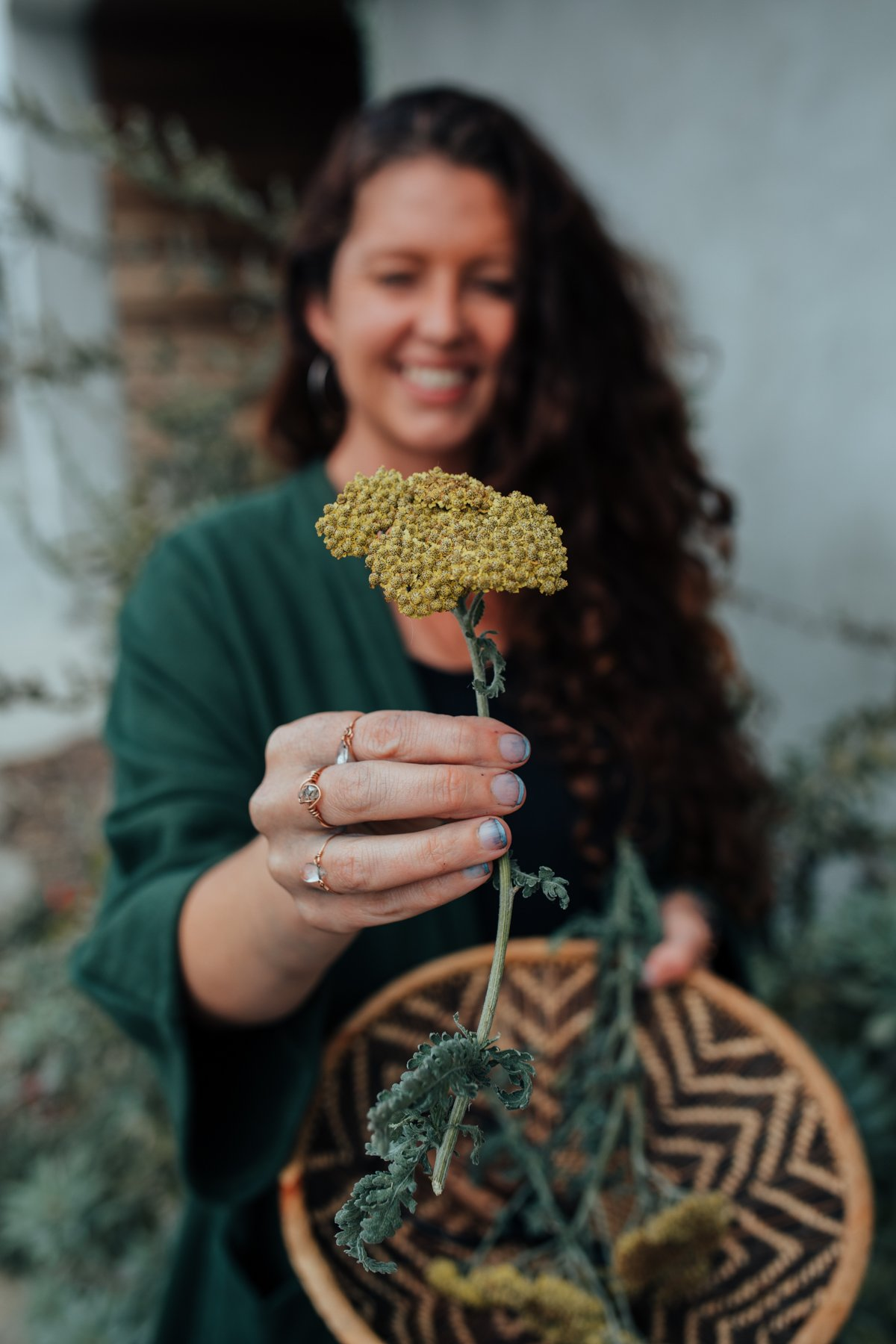 Yarrow and a green sweater, part of my new go-to for slow fashion.