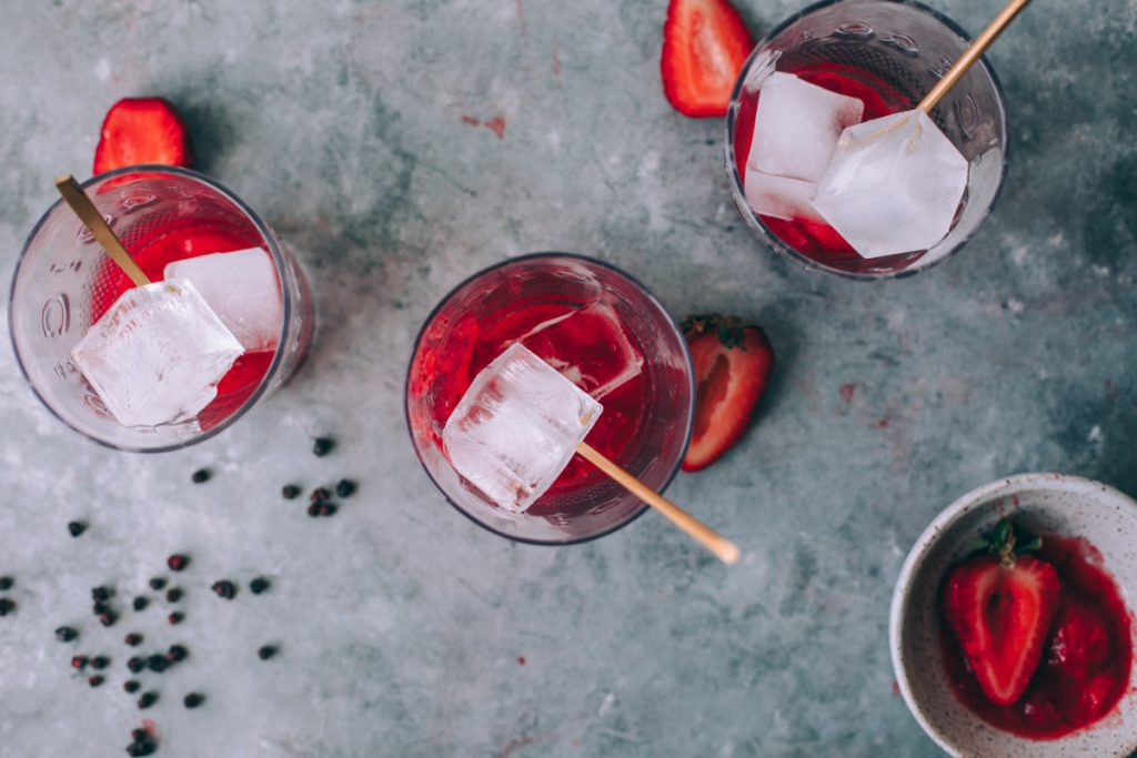 Muddled the strawberries and added ice cubes