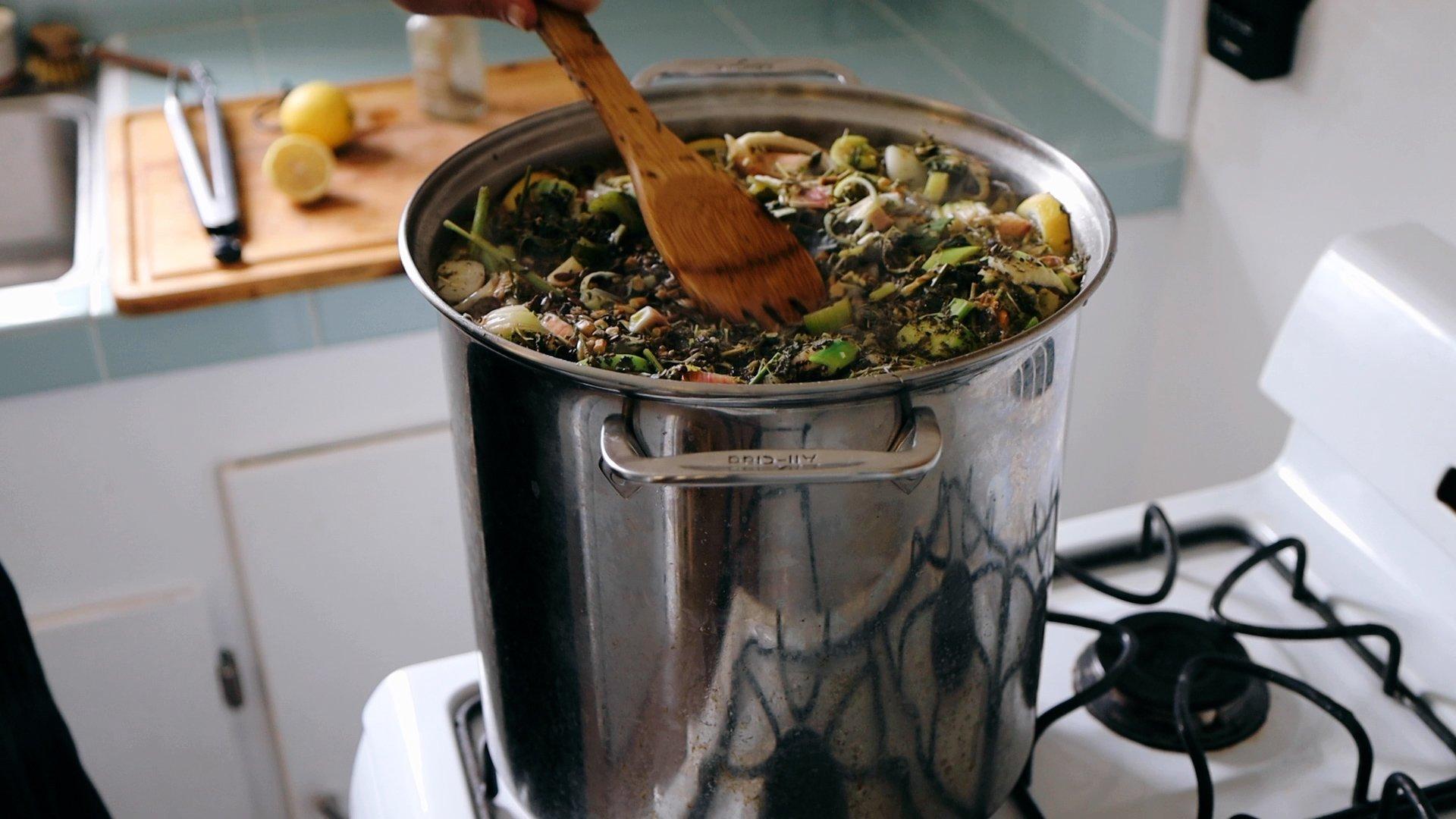 stirring nourishing bone broth