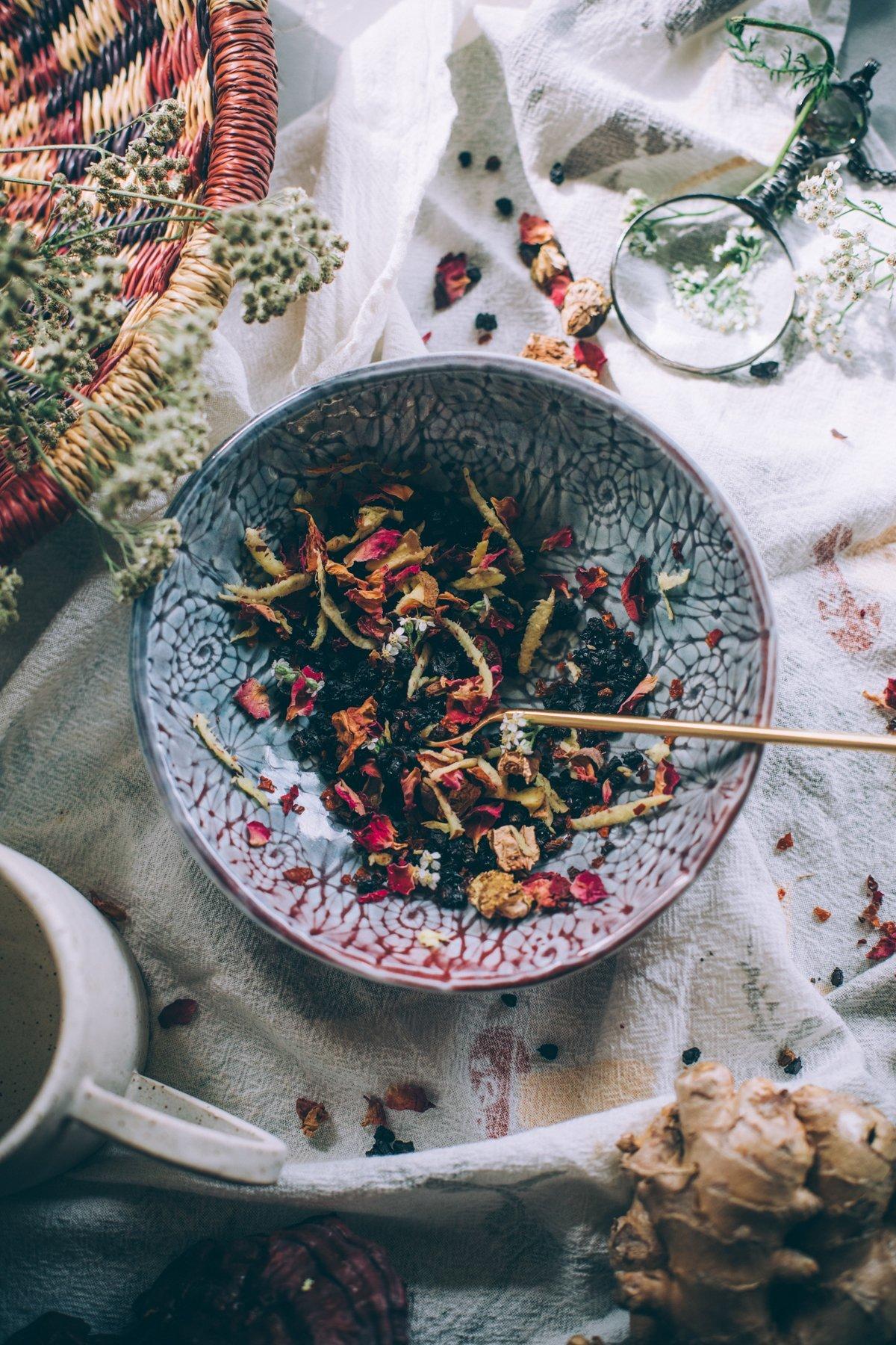 Close up of the winter tea recipe.
